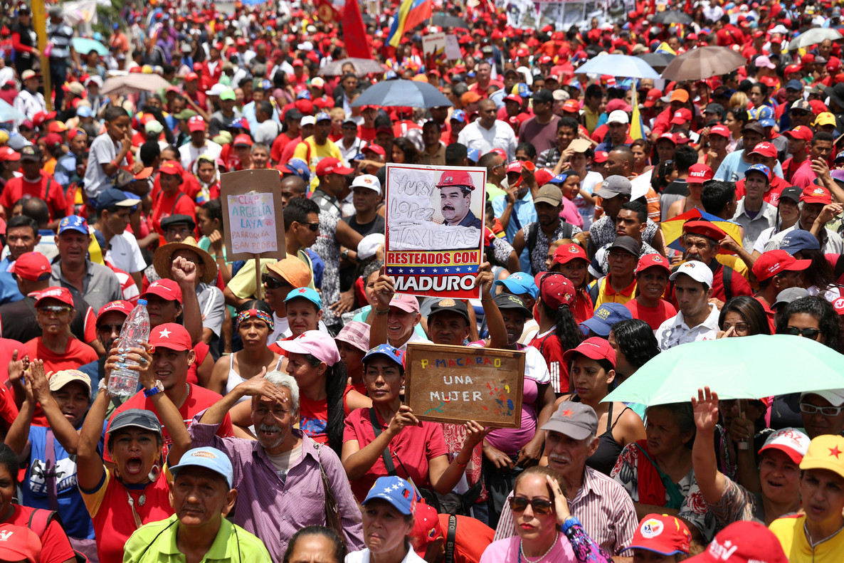 Government supporters attend a rally in Caracas