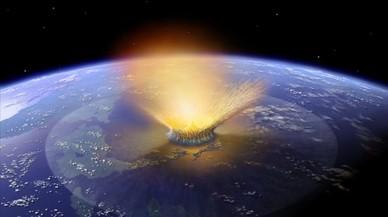 Simulaci�n del gran impacto del Yucat�n de hace 65 millones de a�os, a finales del Cret�ceo, que ocasion� la desaparici�n de los dinosaurios. Posiblemente tambi�n fue un cometa o asteroide.