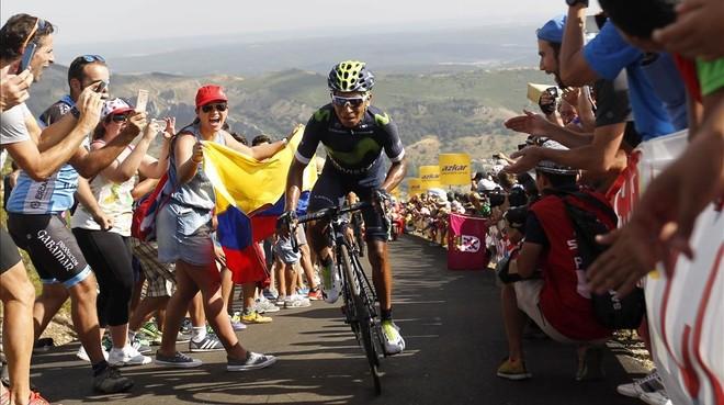 Nairo Quintana, en los últimos metros de La Camperona.