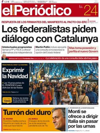 """""""Los federalistas piden di�logo con Catalunya"""", en la portada de EL PERI�DICO DE CATALUNYA"""