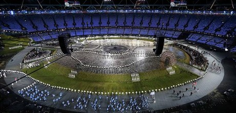 Panor�mica del estadio durante la ceremonia.