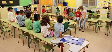 Ni�os en un colegio de Barcelona.