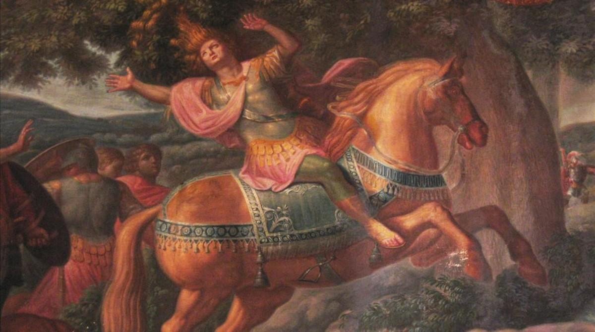 Una de las escenas, en este caso la muerte de Absalón, del ciclo pictórico sobre la historia bíblica de David que decoran las paredes del salón principal de Ca lErasme.