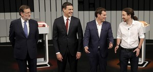 Los aspirantes Mariano Rajoy, Pedro Sánchez, Albert Rivera y Pablo Iglesias en el único debate a cuatro celebrado en campaña