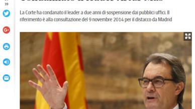 La condemna a Artur Mas, recollida per la premsa internacional