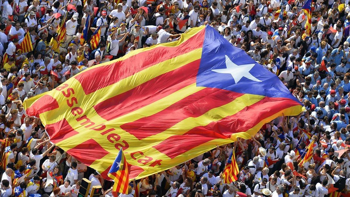 Estelada de la ANC en la manifestación independentista de la Diada del 2015, en Barcelona