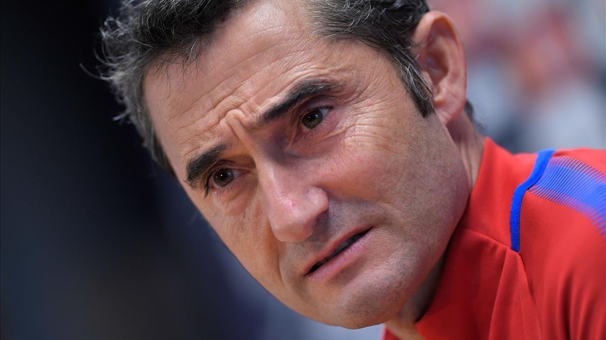 Valverde, en una rueda de prensa en la ciudad deportiva de Sant Joan Despí.