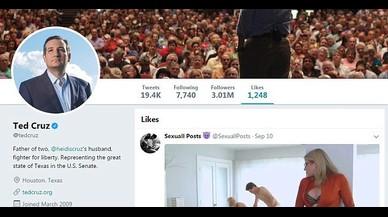 El republicà Ted Cruz clica a 'm'agrada' en un vídeo de porno dur de Twitter