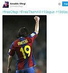 La imagen de Messi en un mensaje de Otegi en su cuenta de Twitter.