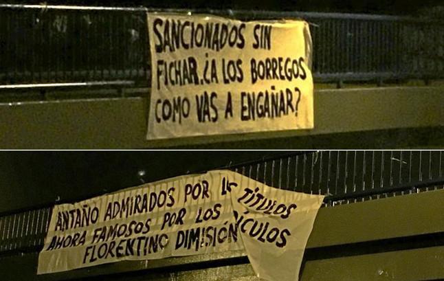 Pancartas contra Florentino en Madrid tras la sanci�n de la FIFA
