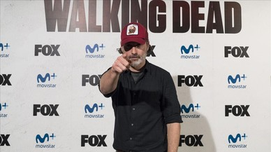 Andrew Lincoln, actor que encarna al personaje de Rick Grimes en la serie de la Fox 'The walking dead', en la presentación en Madrid de la conocida producción de terror.