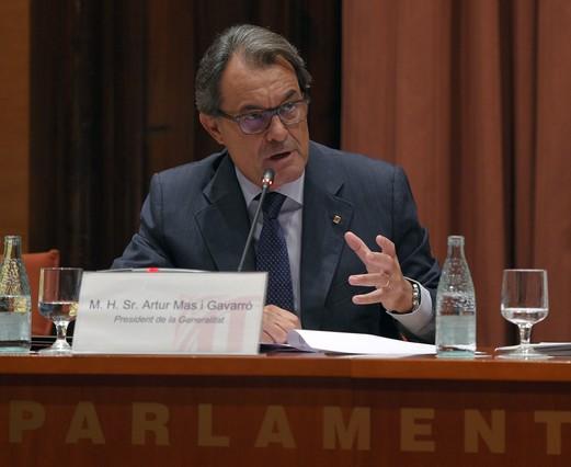 Artur Mas, durante su comparecencia en el Parlament, el pasado miércoles, 2 de septiembre, sobre la convocatoria anticipada de elecciones y el caso 3%.