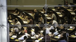 Pruebas de selectividad en la Universitat Pompeu Fabra de Barcelona.