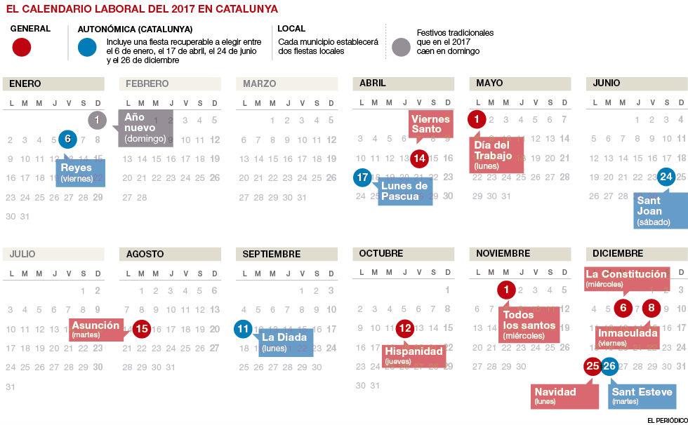 El calendario laboral del 2017 tendr� 15 festivos