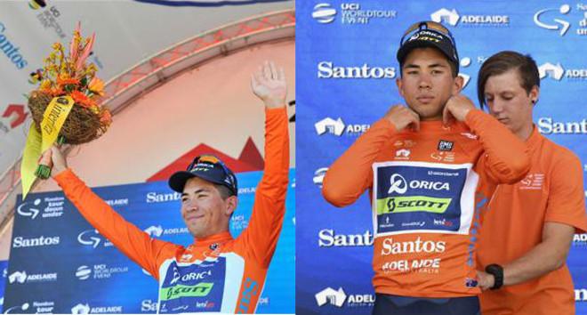 Ewan subió al podio y se puso el maillot de ganador sin las tradicionales azafatas posando con él.
