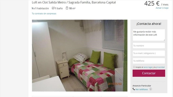 Qui n paga mil euros de alquiler por 50 metros cuadrados for Busco piso alquiler barcelona
