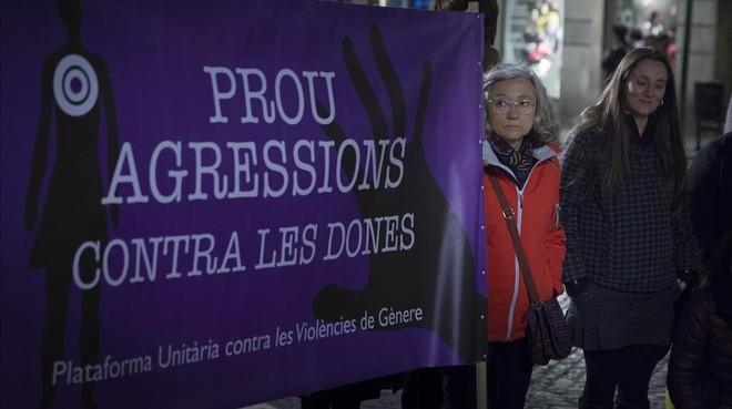 Manifestación contra la violencia machista el pasado febrero, en Barcelona.