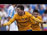 Messi celebra el gol de la victoria en M�laga, el pasado 23 de enero