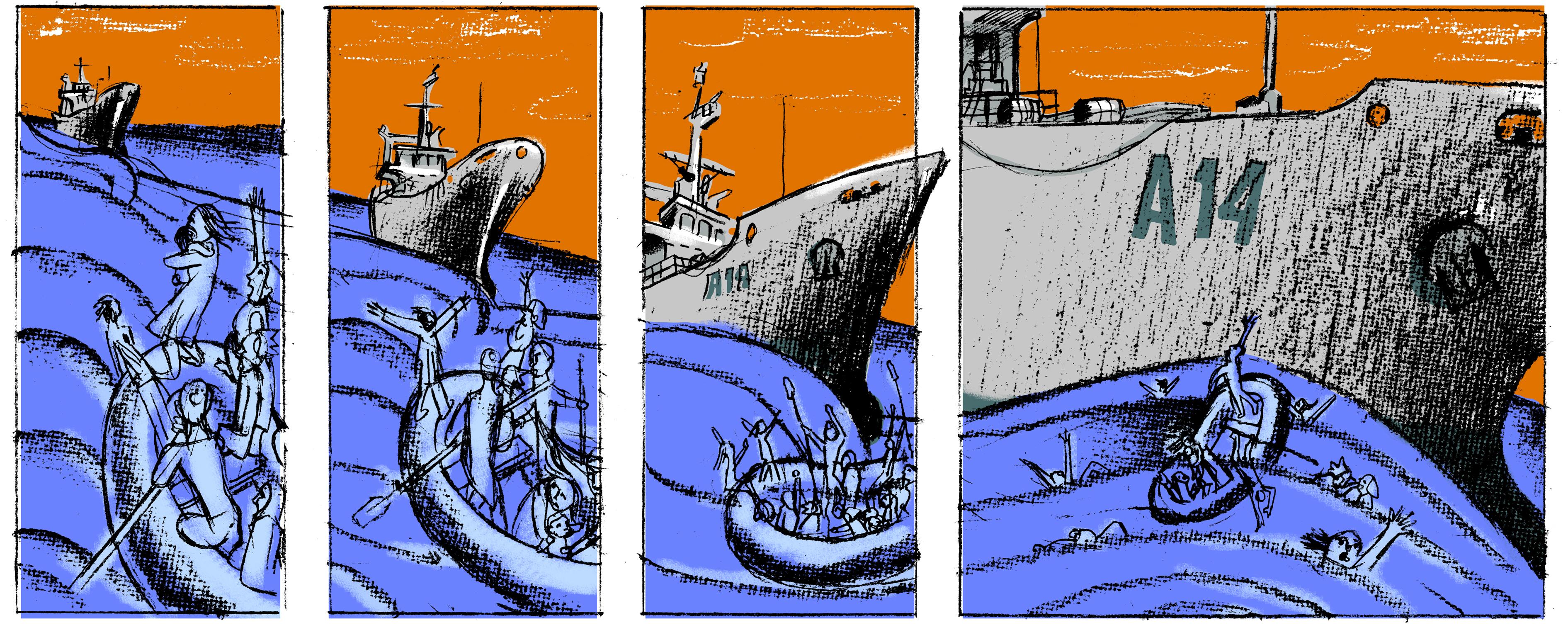 Resultado de imagen de ilustraciones david dee merkel  refugiados
