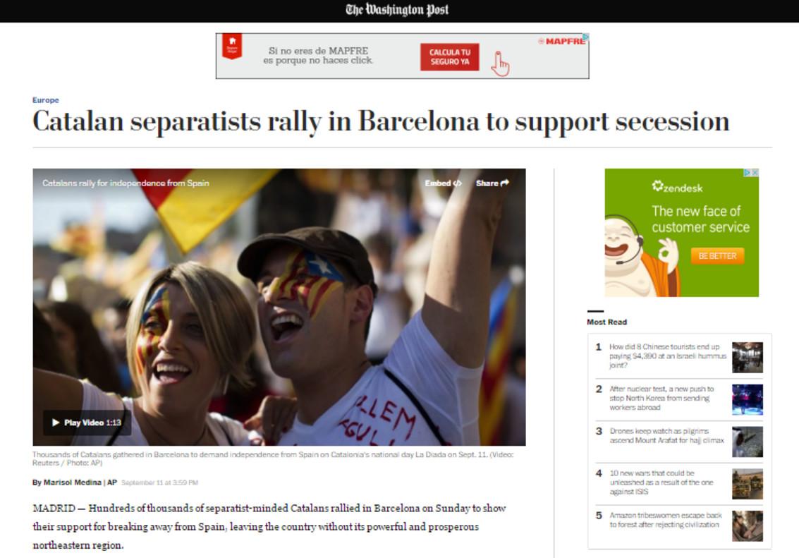 El ressò internacional de la manifestació independentista