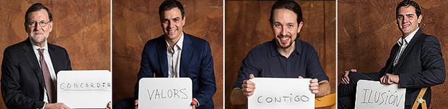 Mariano Rajoy, Pedro Sánchez, Pablo Iglesias y Albert Rivera posan para EL PERIÓDICO