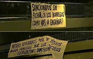 Pancartas contra Florentino Pérez en Madrid tras la sanción de la FIFA.
