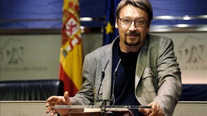 Xavier Domènech participa en un 'escrache' de la PAH contra la seu del PP a Barcelona