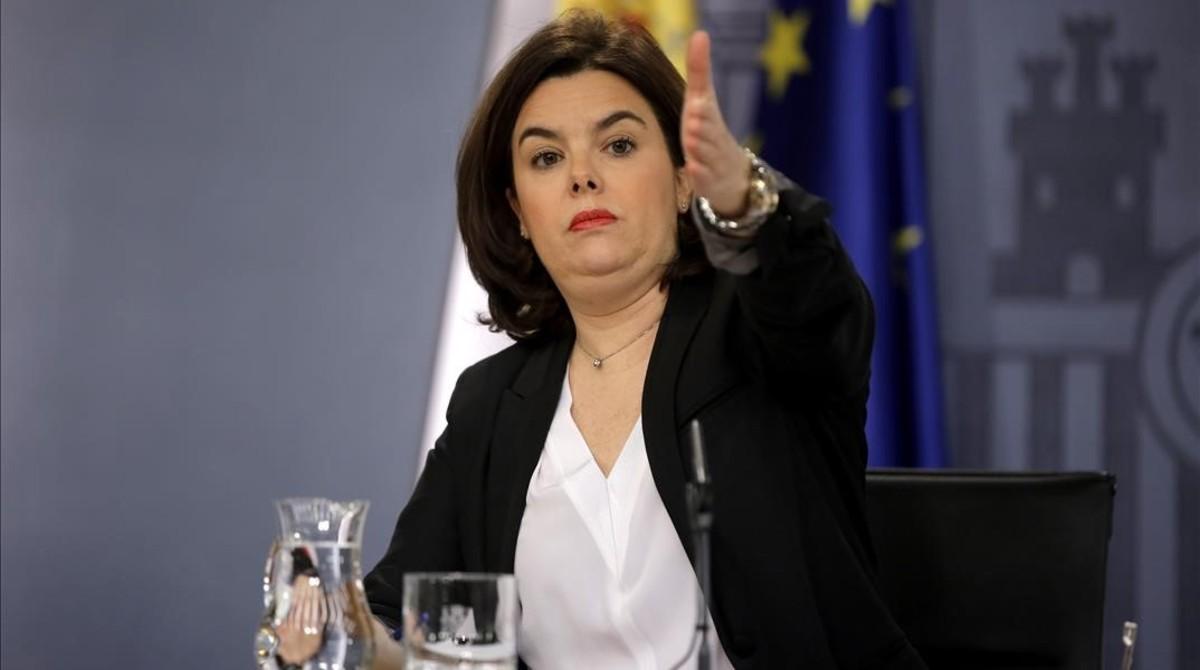 La vicepresidenta del Gobierno en funciones, tras el consejo de ministros.