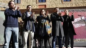 Acto electoral central de En Comú Podem en la Plaza Mayor de Nou Barris.