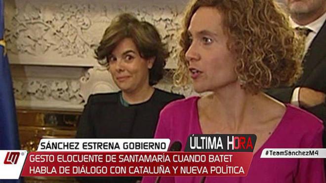 Sáenz de Santamaría, cazada por las cámaras: así fue su polémico gesto mientras hablaba Batet