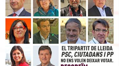 PP y Ciudadanos denuncian un cartel de Arran que señala a concejales contrarios al 1-O