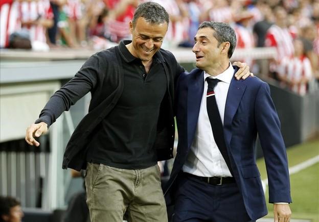 Luis Enrique y Ernesto Valverde, antes del partido.