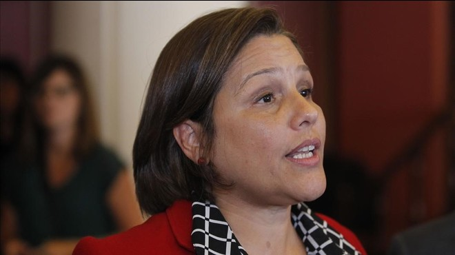 Luisana Melo, ministra de Salud venezolana, en una rueda de prensa en Montevideo (Uruguay), el 3 de febrero.