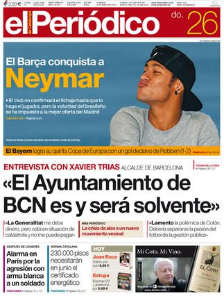 """""""El Bar�a conquista a Neymar"""", en la portada de EL PERI�DICO DE CATALUNYA"""