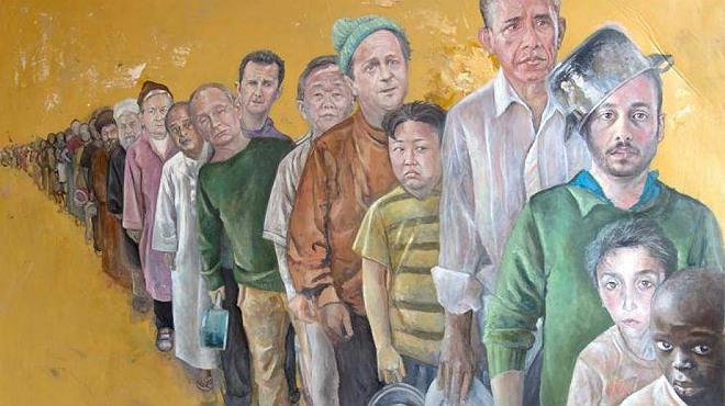 Un artista sirio retrata a los líderes mundiales como refugiados vulnerables