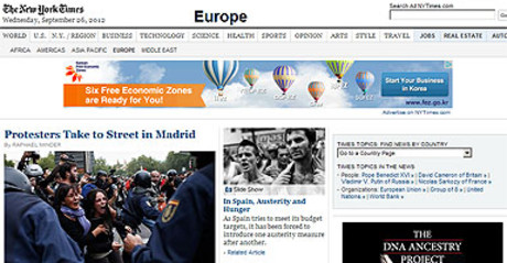 Captura de la web de 'The New York TImes' con el art�culo sobre Espa�a.