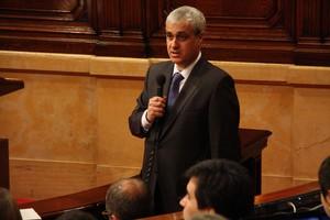 El conseller Germà Gordó, durant la seva intervenció al Parlament.