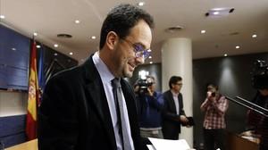 El portavoz socialista, Antonio Herando, este martes en el Congreso.