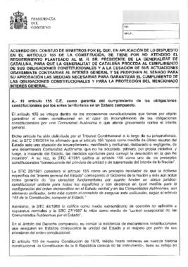 Documento de medidas para aplicar el artículo 155 de la Constitución