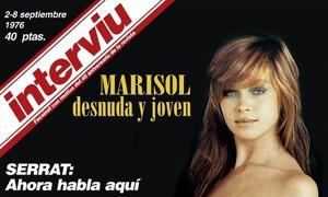 Mítica primera portada de la revista Interviú, con Marisol al desnudo; todo un símbolo de la transición.