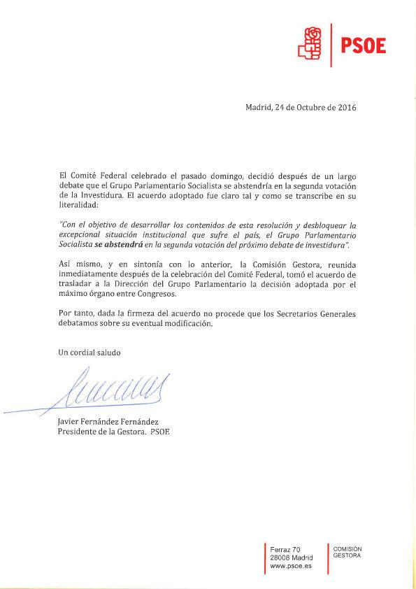 Javier Fern�ndez rechaza debatir con los barones sobre una abstenci�n m�nima