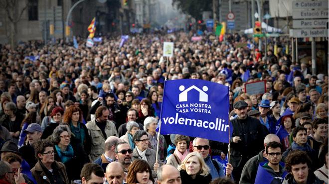 La manifestació més gran d'Europa a Barcelona per acollir refugiats.