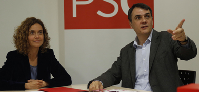 Meritxell Batet y Carles Mart�, este mi�rcoles, en la sede del PSC.