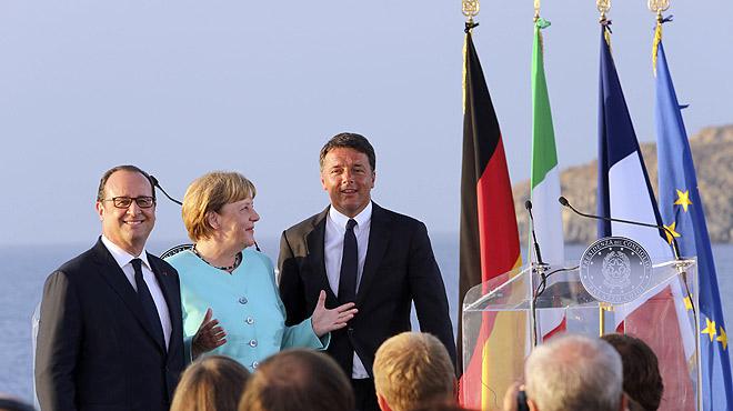 Merkel, Hollande y Renzi se re�nen en un portaviones para forjar en n�cleo duro de la nueva Uni�n Europea