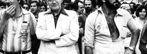El historiador Josep Maria Ainaud de Lasarte, especialista en el catalanismo, en la Diada de 1977.