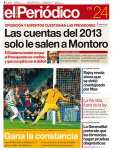 La portada de EL PERIDICO, este 24-10-2012.