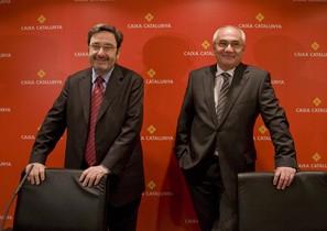 Lexpresident de Catalunya Caixa Narcís Serra i lexdirector general Adolf Todó, en una imatge de febrer del 2009.