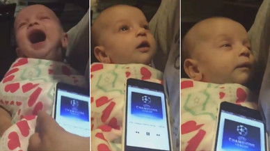 El himno de la Champions, lo único capaz de calmar (y dormir) a un bebé