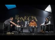 Daniel Fern�ndez, Xavier Aliaga, Juanjo Garcia y Juanjo Braulio, en el homenaje a Rafael Chirbes en BCNegra.