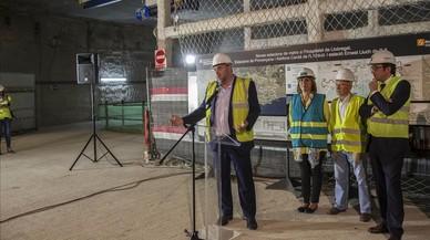 De izquierda a derecha, Oriol Junqueras, Núria Marín, Manuel Piñar y Josep Rull, durante la presentación de los proyectos de la L-10 y la L-5 del metro.